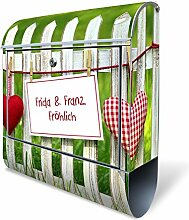 banjado - Design Edelstahl Briefkasten 38x43,5x12,5cm mit Zeitungsfach und Motiv WT Gartenzaun