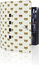 banjado Design Schlüsselkasten aus Edelstahl, 10 Haken für Schlüssel, praktischer Magnetverschluss, 24x21,5cm, Motiv Bären Masken