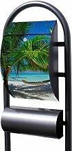 banjado - Design Stand Briefkasten mit Zeitungsrolle Metall schwarz 44x150x14cm mit Motiv Strand