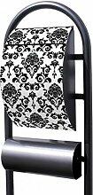 banjado - Design Stand Briefkasten mit Zeitungsrolle Metall schwarz 44x150x14cm mit Motiv Barock