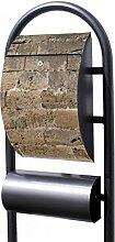 banjado - Design Stand Briefkasten mit Zeitungsrolle Metall schwarz 44x150x14cm mit Motiv Steinwand Antik