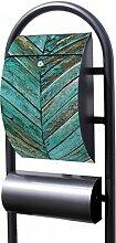 banjado - Design Stand Briefkasten mit Zeitungsrolle Metall schwarz 44x150x14cm mit Motiv Altes Holz Blau