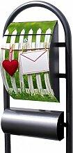 banjado - Design Stand Briefkasten mit Zeitungsrolle Metall schwarz 44x150x14cm mit Motiv Gartenzaun