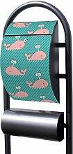 banjado - Design Stand Briefkasten mit Zeitungsrolle Metall schwarz 44x150x14cm mit Motiv Rosa Wal