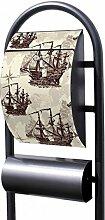 banjado - Design Stand Briefkasten mit Zeitungsrolle Metall schwarz 44x150x14cm mit Motiv Segelschiffe