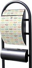 banjado - Design Stand Briefkasten mit Zeitungsrolle Metall schwarz 44x150x14cm mit Motiv Fische Bun