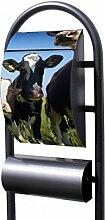 banjado - Design Stand Briefkasten mit Zeitungsrolle Metall schwarz 44x150x14cm mit Motiv Kühe