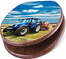 banjado Design Toilettensitz mit Absenkautomatik, WC-Sitz Holz, Klodeckel mit Metall Scharnieren, Toilettendeckel mit Motiv Traktor
