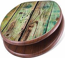 banjado Design Toilettensitz mit Absenkautomatik, WC-Sitz Holz, Klodeckel mit Metall Scharnieren, Toilettendeckel mit Motiv Grünes Holz