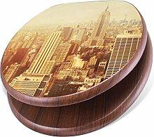 banjado Design Toilettensitz mit Absenkautomatik, WC-Sitz Holz, Klodeckel mit Metall Scharnieren, Toilettendeckel mit Motiv Manhattan
