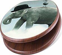 banjado Design Toilettensitz mit Absenkautomatik, WC-Sitz Holz, Klodeckel mit Metall Scharnieren, Toilettendeckel mit Motiv Elefant und Möwe