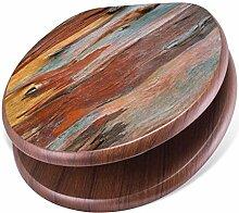 banjado Design Toilettensitz mit Absenkautomatik, WC-Sitz Holz, Klodeckel mit Metall Scharnieren, Toilettendeckel mit Motiv Coloured Wood
