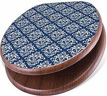BANJADO Design Toilettensitz mit Absenkautomatik, WC-Sitz Holz, Klodeckel mit Metall Scharnieren, Toilettendeckel mit Motiv Damast Blau