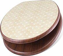 BANJADO Design Toilettensitz mit Absenkautomatik, WC-Sitz Holz, Klodeckel mit Metall Scharnieren, Toilettendeckel mit Motiv Beige Herzen