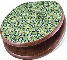 BANJADO Design Toilettensitz mit Absenkautomatik, WC-Sitz Holz, Klodeckel mit Metall Scharnieren, Toilettendeckel mit Motiv Kaleidoscop Grün
