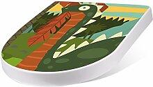 banjado Design Toilettensitz mit Absenkautomatik, WC-Sitz weiß, Klodeckel mit Edelstahl Scharnieren, Toilettendeckel mit Motiv Brunosaurus