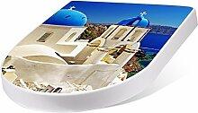 banjado Design Toilettensitz mit Absenkautomatik, WC-Sitz Weiß, Klodeckel mit Edelstahl Scharnieren, Toilettendeckel mit Motiv Griechenland