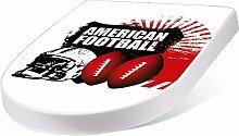 banjado Design Toilettensitz mit Absenkautomatik, WC-Sitz weiß, Klodeckel mit Edelstahl Scharnieren, Toilettendeckel mit Motiv American Football
