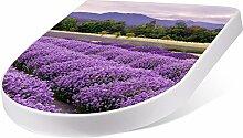 banjado Design Toilettensitz mit Absenkautomatik, WC-Sitz weiß, Klodeckel mit Edelstahl Scharnieren, Toilettendeckel mit Motiv Lavendel