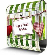 BANJADO Edelstahl Briefkasten mit Zeitungsfach, Design Motivbriefkasten, Briefkasten 38x43,5x12,5cm groß Motiv WT Gartenzaun inkl. schwarzem Standfuß