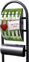 banjado - Individualisierter Standbriefkasten schwarz Metall mit Zeitungsfach Motiv Gartenzaun mit Wunschtex