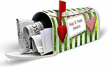 banjado - Individuell gestaltete weiße US Mailbox 17cm x 22cm x 51cm mit Motiv Gartenzaun, Briefkasten ohne Standfuß