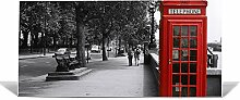 "banjado Magnettafel / Memoboard 37x78cm / Pinnwand magnetisch mit Motiv """"London Red Telephone"