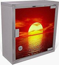 BANJADO Medizinschrank aus Edelstahl / Arzneischrank abschliessbar 30x30x15cm / Erste Hilfe Schrank mit 2 Schlüsseln / Medikamentenschrank klein / Hauspotheke mit Motiv Sonnenuntergang