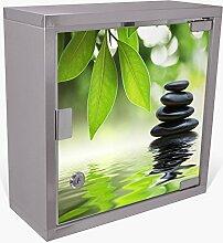 BANJADO Medizinschrank aus Edelstahl / Arzneischrank abschliessbar 30x30x15cm / Erste Hilfe Schrank mit 2 Schlüsseln / Medikamentenschrank klein / Hauspotheke mit Motiv Steine&Relax