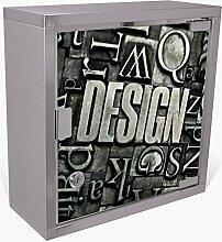 BANJADO Medizinschrank aus Edelstahl / Arzneischrank abschliessbar 30x30x15cm / Erste Hilfe Schrank mit 2 Schlüsseln / Medikamentenschrank klein / Hauspotheke mit Motiv Design