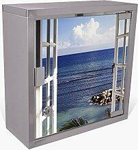 BANJADO Medizinschrank aus Edelstahl / Arzneischrank abschliessbar 30x30x15cm / Erste Hilfe Schrank mit 2 Schlüsseln / Medikamentenschrank klein / Hauspotheke mit Motiv Fensterpanorama