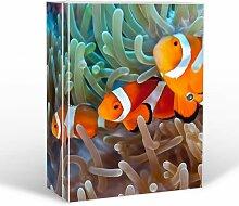 banjado Medizinschrank groß abschließbar | Arzneischrank 35x46x15cm | Medikamentenschrank aus Metall weiß mit Motiv Clownfische