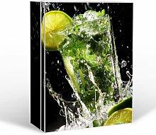 BANJADO Medizinschrank groß abschließbar / Arzneischrank 35x46x15cm / Medikamentenschrank aus Metall weiß mit Motiv Brasilianischer Cocktail