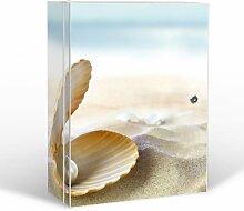 BANJADO Medizinschrank groß abschließbar / Arzneischrank 35x46x15cm / Medikamentenschrank aus Metall weiß mit Motiv Perlenmuschel