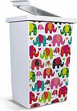 banjado - Mülleimer Design Abfalleimer 42 Liter mit Motiv Elefanten Flicken