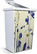 banjado - Mülleimer Design Abfalleimer 42 Liter mit Motiv Welke Blumen