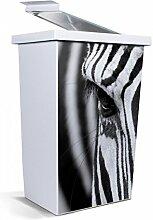 banjado - Mülleimer Design Abfalleimer 42 Liter mit Motiv Zebra En Face