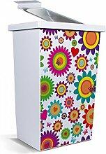 banjado - Mülleimer Design Papierkorb 42 Liter mit Motiv Bunte Kreise