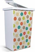 banjado - Mülleimer Design Papierkorb 42 Liter mit Motiv Gestreifte Punkte