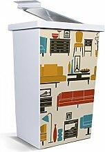 banjado - Mülleimer Design Papierkorb 42 Liter mit Motiv Retro Möbel