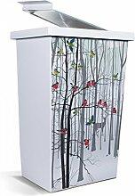 banjado - Mülleimer Design Papierkorb 42 Liter mit Motiv Winterwald
