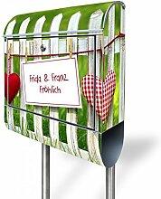banjado - personalisierter Briefkasten mit Edelstahl Ständer 38x150x12cm mit Motiv Gartenzaun
