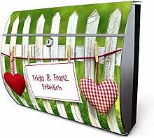banjado - personalisierter Motiv Briefkasten 38x30,5x13,5cm aus Edelstahl mit Zeitungsfach Gartenzaun