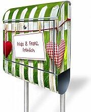 banjado - Personalisierter Standbriefkasten Motivbriefkasten mit Ständer und Motiv Gartenzaun