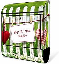 banjado - schwarzer Briefkasten aus Stahl mit Zeitungsfach 38x42x11cm Postkasten Motiv WT Gartenzaun, Briefkasten schwarz mit weißem Standfuß