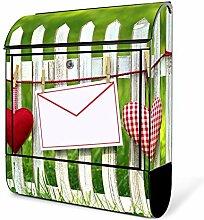 banjado - schwarzer Briefkasten aus Stahl mit Zeitungsfach 38x42x11cm Postkasten Motiv Gartenzaun, Briefkasten schwarz mit weißem Standfuß