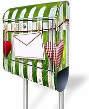 banjado - Standbriefkasten Motivbriefkasten mit Ständer und Motiv Gartenzaun