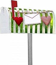 banjado - US Mailbox 17x22x51cm amerikanischer Briefkasten mit silber lackiertem Ständer und Motiv Gartenzaun