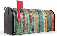 BANJADO US Mailbox/Amerikanischer Briefkasten 51x22x17cm/Letterbox Stahl schwarz/mit Motiv Bunte Bretterwand, Briefkasten:mit schwarzem Standfuß