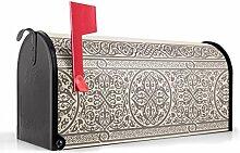BANJADO US Mailbox/Amerikanischer Briefkasten 51x22x17cm/Letterbox Stahl schwarz/mit Motiv Keltischer Knoten, Briefkasten:mit schwarzem Standfuß